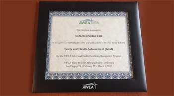 Suzlon Wind receives AWEA Health and Safety Achievement Award